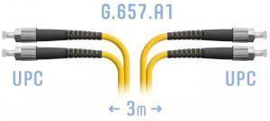 SNR-PC-FC/UPC-DPX-A-3m - Патчкорд оптический прямой FC/UPC - FC/UPC, SM (G.657.A1), Duplex, 3 метра