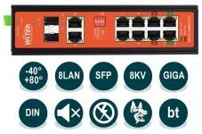 Wi-Tek WI-PS310GF-I (v2) - Промышленный неуправляемый коммутатор, 2xPoE 1000Base-T IEEE802.3at/af/bt, 2xPoE 1000Base-T IEEE802.3at/af/Passive 24В, 4xPoE 1000Base-T IEEE802.3at/af, 2xCombo SFP, Watchdog, передача PoE на 250м, Крепление на DIN рейку, IP30,