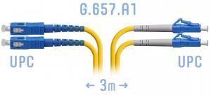 SNR-PC-LC/UPC-SC/UPC-DPX-A-3m - Патчкорд оптический переходной LC/UPC - SC/UPC, SM (G.657.A1), Duplex, 3 метра купить в Казани Оптический патчкорд предназначен для подключения функциональных блоков оптического телекоммуни