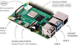 Raspberry Pi 4 Model B 4GB (44589 / RA545) - Микрокомпьютер купить в Казани Raspberry Pi 4 model B - мини-компьютер, первая плата из нового поколения Raspberry. С поддержкой б