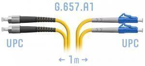 SNR-PC-LC/UPC-FC/UPC-DPX-A-1m - Патчкорд оптический переходной LC/UPC - FC/UPC, SM (G.657.A1), Duplex, 1 метр купить в Казани Оптический патчкорд предназначен для подключения функциональных блоков оптического телекоммуни
