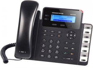 GXP1628 - это стандартный IP-телефон Grandstream для малого бизнеса. Linux-модель имеет 2 линии, 3 XML-программируемые контекстозависимые клавиши, восемь программируемых клавиш с BLF, HD-аудио и поддерживает режим конференции до 3-х участников