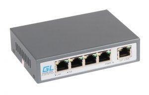 GIGALINK GL-SW-F002-04P - PoE-коммутатор неуправляемый, 4*PoE (802.3af) портов 100Мб/с, 1*Uplink порт 100Мб/с, до 150м, 60Вт