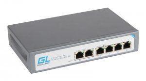GIGALINK GL-SW-G001-04P - Коммутатор неуправляемый, 4 PoE (802.3af) порта 1Гб/с, 2 Uplink порта 1Гб/с, 60Вт