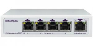 POWERTONE PEXT 1/4 - 4-портовый PoE удлинитель Ethernet PEXT 1/4, 802.3at и 802.3af совместимость, не треб. внешнего питания, до -40С