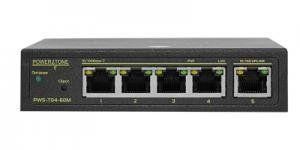 POWERTONE PWS-T04-60M - Коммутатор управляемый, 4 PoE (802.3af) порта 100Мб/с, 1 Uplink порт 100Мб/с, 60Вт
