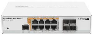 MikroTik CRS112-8P-4S-IN - Коммутатор, 8x Gigabit Ethernet Smart Switch with PoE-out, 4x SFP cages, 400MHz CPU, 128MB RAM, desktop case, RouterOS L5