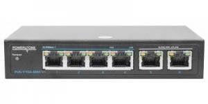 POWERTONE PUS-TT04-60M v1 - PoE коммутатор неуправляемый, 4x10/100BASE-TX 802.3af&at + 2x10/100/1000BASE-TX, PoE бюджет 60Вт, до 30Вт на порт