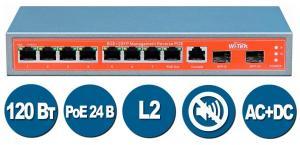 Wi-Tek WI-PMS310GF-24V - Коммутатор управляемый L2 пассивное PoE 24В 120Вт, порты 8 PoE GE + 2SFP