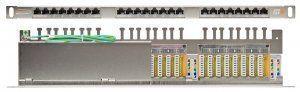 """Патч-панель NIKOMAX 19"""", 0,5U, 24 порта, Кат.6, RJ45/8P8C, 110/KRONE, T568A/B, полный экран, с органайзером, металлик в Казани"""