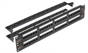 """Патч-панель NIKOMAX 19"""", 2U, 48 портов, Кат.6, RJ45/8P8C, 110/KRONE, T568A/B, неэкранированная, с органайзерами, черная (NMC-RP48UE2-2U-BK) в Казани"""