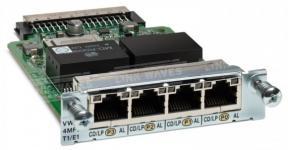 Cisco VWIC3-4MFT-T1/E1 - это четырехпортовый модуль третьего поколения, который сочетает в себе функции как WAN-интерфейса (WIC), так и голосовых интерфейсов (VIC)