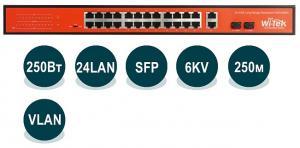 Wi-Tek WI-PS526G - PoE-коммутатор неуправляемый, 24*802.3at/af 100Base-TX +  2*Combo 1000Base-T/SFP, 250Вт