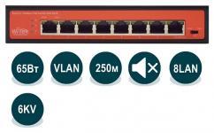 Wi-Tek WI-PS208H - Неуправляемый коммутатор с функцией PoE, 8x 802.3at/af 100Base-TX, 65Вт купить в Казани Неуправляемый коммутатор WI-PS208H с функцией PoE (Power over Ethernet), применяется в ин
