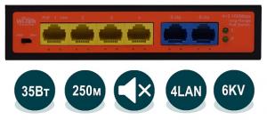 Wi-Tek WI-PS205H - Неуправляемый коммутатор с функцией PoE, 4x 802.3at/af 100Base-TX + 2x 100Base-TX, 35Вт купить в Казани Неуправляемый коммутатор WI-PS205H с функцией PoE (Power over Ethernet), применяется в инсталл