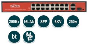 Wi-Tek WI-PS518G (v2) - Неуправляемый коммутатор с функцией PoE, 2x 802.3bt 100Base-TX + 14x 802.3at/af 100Base-TX + 2x 1000Base-T + 1x SFP, 200Вт, Watchdog