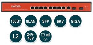 Wi-Tek WI-PMS310GF-UPS -  - Управляемый гигабитный L2 коммутатор с питанием от солнечной панели и аккумуляторной батареи, с функцией PoE, 8x 802.3at/af/Passive PoE 1000Base-T + 2x SFP, 150Вт