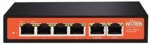 Wi-Tek WI-PE51E - Повторитель PoE, порты 1x PoE-in 100Base-TX + 4x PoE-out 100Base-TX + 1x 100Base-TX