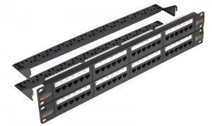 "Патч-панель NIKOMAX 19"", 2U, 48 портов, Кат.5e, RJ45/8P8C, 110/KRONE, T568A/B, неэкранированная, с органайзерами, черная (NMC-RP48UD2-2U-BK) в Казани"