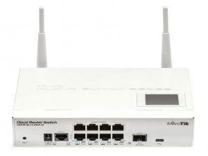 MikroTik CRS109-8G-1S-2HnD-IN - Коммутатор с Wi-Fi, 8x Gigabit Smart Switch, 1x SFP cage, LCD, 1000mW 802.11b/g/n Dual Chain wireless, 600MHz CPU, 128MB RAM