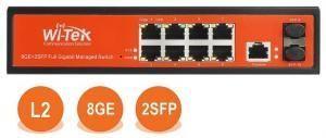 Wi-Tek WI-MS310GF - Управляемый гигабитный L2 коммутатор 8 портов 1000Base-T + 2 SFP управление WEB/CLI/SNMP/RMON функционал L2 - VLAN, QoS, IGMP Snooping, STP/RSTP/MSTP, ACL, Security, дизайн Fanless купить в Казани Управляемый гигабитный L2 коммутатор WI-MS310GF c 8 портами 1000Base-T,  2 порт