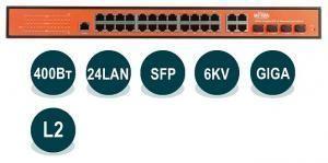 Wi-Tek WI-PMS328GF - Управляемый гигабитный L2 коммутатор 24 PoE портов 1000Base-T +  4 Combo 1000Base-T/SFP; PoE IEEE 802.3at/af до 30Вт на порт; управление WEB/CLI/SNMP/RMON; функционал L2 - VLAN, QoS, IGMP Snooping, STP/RSTP/MSTP, ACL, Security; внутре