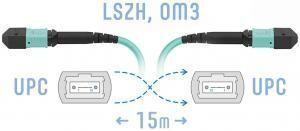 SNR-PC-MPO/UPC-MPO/UPC-FF-MM-8F-15m -  Оптический патчкорд MPO/UPC - MPO/UPС, FF (Female / Female), кроссовый, MM, 8 волокон диаметром 50/125 (OM3) купить в Казани Оптический разъем MPO (Multi-fiber push-on) является разумной альтернативой для кабельной