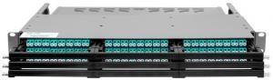 SNR-CMP-144P -  Коммутационная панель 1U под MPO кассеты на 144 порта является идеальным решением, в условиях повышенной плотности монтажа в центрах обработки данных купить в Казани Волоконно-оптическая кабельная система MPO состоит из претерминированных многоволоконных оптических