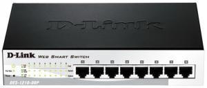 D-Link DES-1210-08P - Настраиваемый L2 коммутатор с 8 портами 10/100Base-TX с поддержкой PoE 802.3af, PoE-бюджет 72Вт