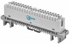 SNR-LSA-09 -  Размыкаемый плинт на 10 пар универсальный, категория 3, контакты IDC Krone, маркирорвка 0...9 купить в Казани Плинт размыкаемый SNR-LSA-09 предназначен для коммутации абонетских и соединительных телефонных лин